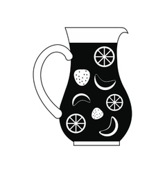 Jar and glass of fresh sangria icon simple style vector image