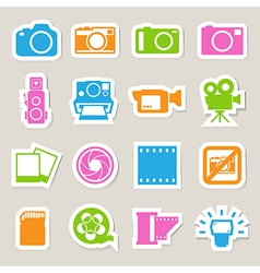Camera and Video sticker icons set vector image