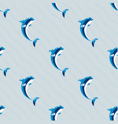 cute dolphins aquatic marine nature ocean seamless vector image vector image