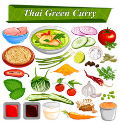 food and spice ingredient for thai green curry vector image vector image