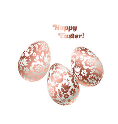 Pale shiny metal easter egg decoration floral vector