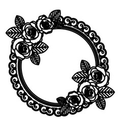 round emblem with oval roses icon vector image vector image