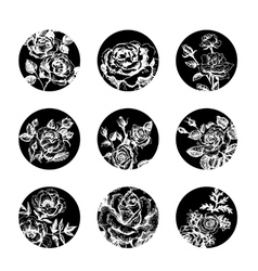 Set of floral banners hand drawn rose vector image vector image