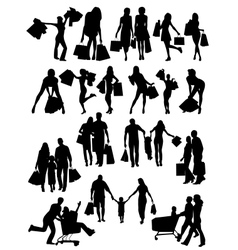 Shopping family and girls silhouettes vector image vector image