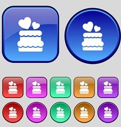 wedding cake icon sign A set of twelve vintage vector image