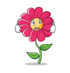 afraid pink flower character cartoon vector image vector image
