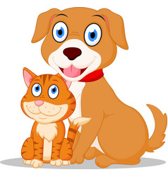 Cute dog and cat cartoon vector