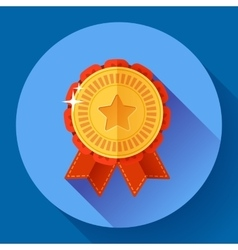Gold shiny medal with ribbons badge icon Flat vector image vector image