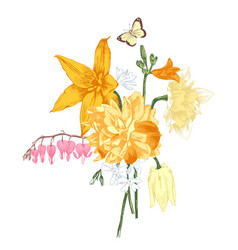 hand drawn bouquet of spring flowers vector image