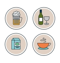 set line food icons isolated vector image