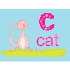 Animal alphabet c with cat vector