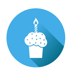 birthday cake flat icon fresh pie muffin on blue vector image vector image