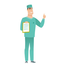 doctor with clipboard giving thumb up vector image
