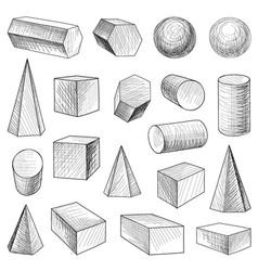 Geometric shape figure set engraving retro object vector