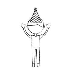 Sketch draw party boy cartoon vector