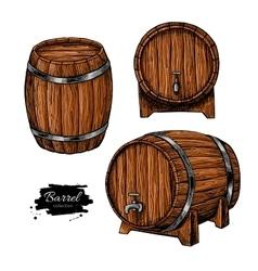 wooden barrel Hand drawn vintage vector image