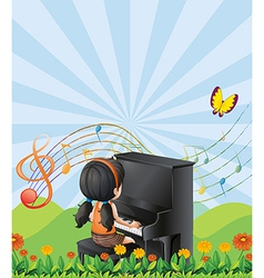 A girl playing with the piano at the hills vector image