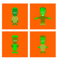 Assembly flat halloween zombie men vector