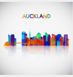 Auckland skyline silhouette in colorful geometric vector
