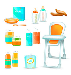 baby feeding 3d set vector image