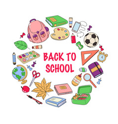 Back to school template set school accessories vector