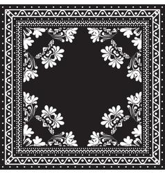 Black and white Bandana print design with borders vector