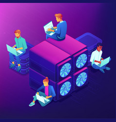 Blockchain and mining isometric concept vector