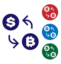 blue cryptocurrency exchange icon isolated on vector image