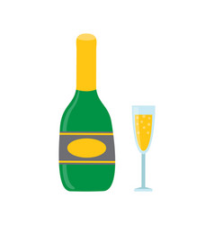 Bottle and glass sparkling wine or champagne vector