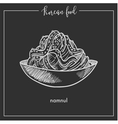 Bowl of delicious namnul from traditional korean vector