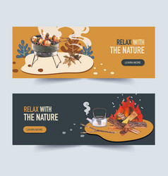 Camping banner design with barbecue grill stove vector