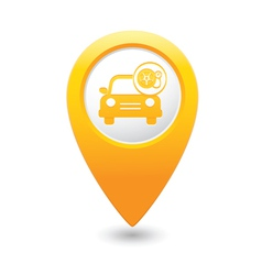 Car with wheel pump icon map pointer yellow vector
