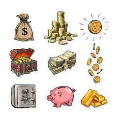 Cartoon finance money set sack dollars stack vector