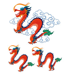 Chinese dragons on white background vector