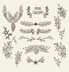 christmas natural hand drawn template vector image