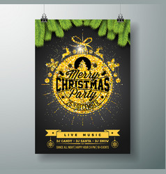 Christmas party flyer design with glittered vector
