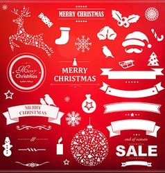 Christmas Symbol Set With Red Bokeh Background vector