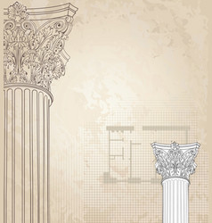 Classic columns background roman corinthian vector