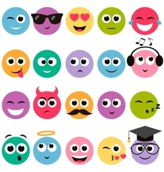 Colorful smiley faces set vector