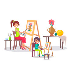 creative mother and son young artists banner vector image