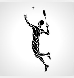 Creative silhouette of abstract badminton player vector