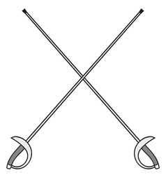 Crossed fencing swords vector