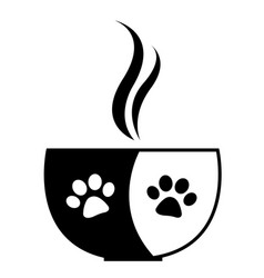 Cup with paws black and white flat design vector