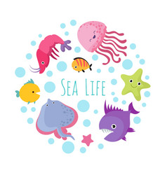 Cute cartoon sea life animals isolated on white vector