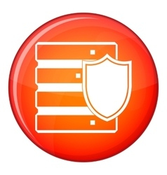 Database with shield icon flat style vector