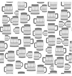 different beer mugs seamless pattern vector image