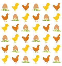 Egg chicken and hen seamless pattern vector