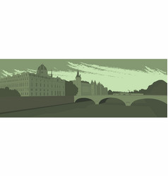embankment and bridge of the big city vector image