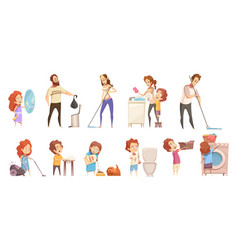 family cleaning cartoon icons set vector image