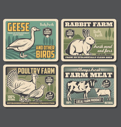 Farm dairy and cattle meat or fowl production vector
